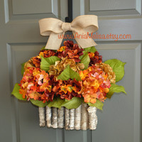 fall wreath hydrangea autumn wreaths fall, Thanksgiving wreaths ETSY wreath  birch bark vase, front door wreaths fall outdoor wreaths