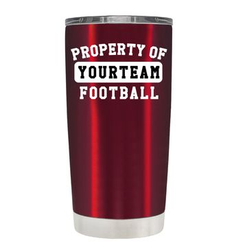 TREK Property of Football Personalized on Translucent Red 20 oz Tumbler Cup
