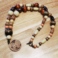 OOAK Handcrafted Necklace; Woodburned Necklace; Wood Necklace; Nature-Inspired Necklace; Wooden Necklace; Zen-Earth Inspired OOAK Design