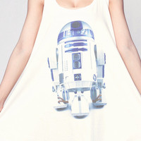 R2D2 STAR WARS T Shirt Dress Robot Droid Movie Top Women Shirts White Tunic T-Shirt Sleeveless Vest Mini Dresses Size M L