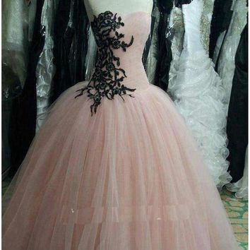 Soft Tulle Rose Quinceanera Prom Dresses Pink