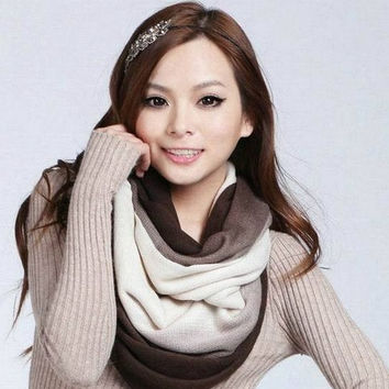 New Fashion Unisex Womens Ladies Men's Winter Knitted Circle Loop Cowl Infinity Scarf Snood Scarves Wraps