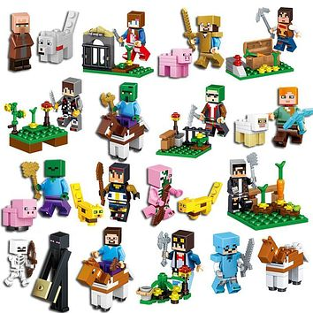 16Pcs/Lot Minecraft Steve Alex Zombie Enderman Reuben Skeleton Weapon Action Figures Toys Compatible With Blocks