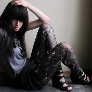 Cosmic leggings - sheer black embellished sequin and glitter - small