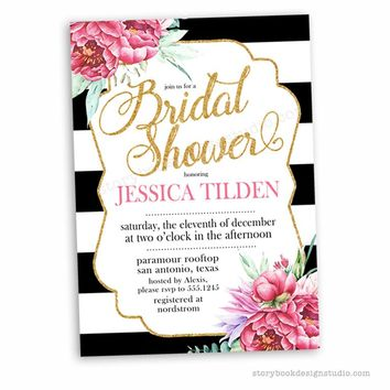 Black White and Floral Bridal Shower Invitations