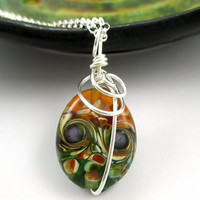 Colorful Lampwork Necklace, Glass Lampwork Pendant, Sterling Silver, Wire Wrapped Glass Pendant