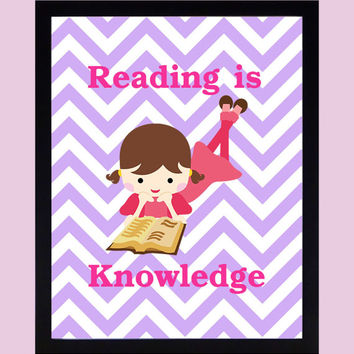 Reading is Knowledge, Knowledge is Power, CUSTOMIZE YOUR COLORS, 8x10 Prints, custom print classroom decor nursery print art baby room decor