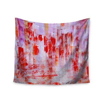 """Malia Shields """"Painted Cityscape"""" Pink Red Wall Tapestry"""