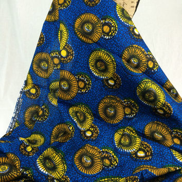 Nigerian Fabric--African Wax Print Fabric--Ankara Fabric--Royal Blue with Golden Yellow Sun Bursts--African Fabric by the HALF YARD