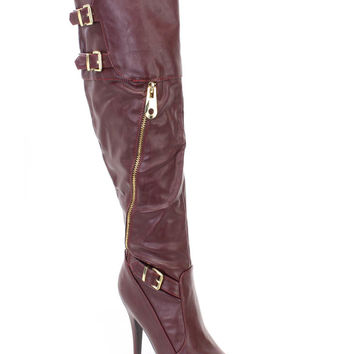 Oxblood Buckle Accent High Heel Winter Boots Faux Leather
