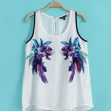 White Goldfish Print Sleeveless Top