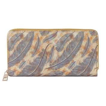 Feather Print Vinyl Clutch Wallet Bag Accessory 308