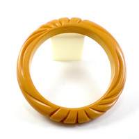Carved Bakelite Bracelet Bangle Yellow Butterscotch Vintage Jewelry Old Plastic Lucite
