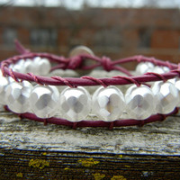 Beaded Leather Single Wrap Bracelet with Pearl White Beads on Berry Leather for Valentine's Day