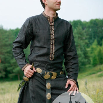 "Natural Flax Linen Medieval Fantasy Tunic Garb ""Elven Prince"""