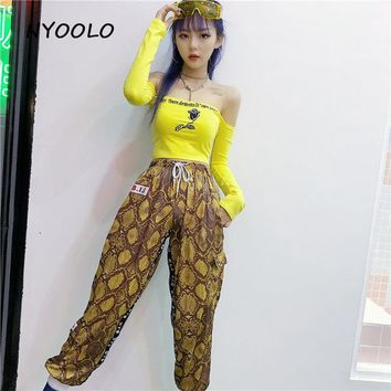 SNAKE SKIN PATTERN JOGGERS (yellow)