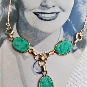Amco pierced jade peking glass gold filled vintage lariat necklace