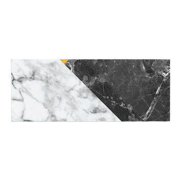 "KESS Original ""Geo Marble and Gold"" Digital Geometric Bed Runner"