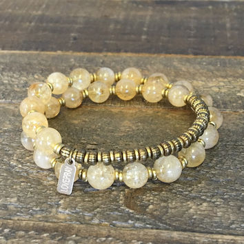 Citrine 'Success' 27 Bead Wrist Mala Bracelet