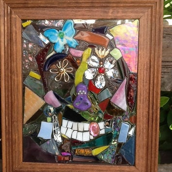 "Sugar Skull  Mosaic Window Art / Suncatcher 13"" x 11"" Handcrafted OOAK"