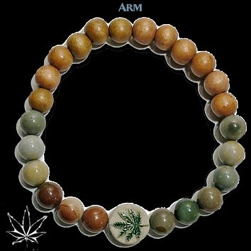 RELAX | Ocean Jasper | Wood Bead | Raku Ceramic Pot Leaf Hemp Bracelet