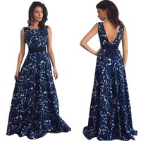 Open V Back Evening Gown