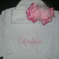 Personalized Infant Gown and Cap with Bow Monogrammed Coming Home Outfit