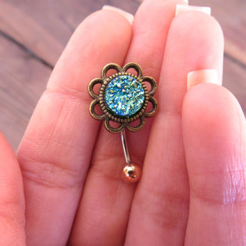 Belly Button Ring, Green Druzy Geode Stone Rock Flower Rose Navel Piercing Bronze Belly Ring Glitter Bar Barbell