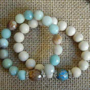 River stone bracelet, turquoise blue czech glass, picasso, casual jewelry, country glam, layering bracelet