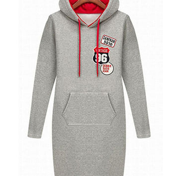 Light Gray Graphic Patchwork Hooded Long Sleeve Sweater Dress