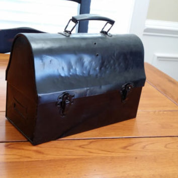 Vintage Black Metal Handy Andy Lunch Box Tool Case Decor Storage Organization Gift Box Artist Case