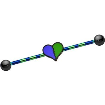 Green Purple Anodized Titanium Breaking Heart Industrial Barbell