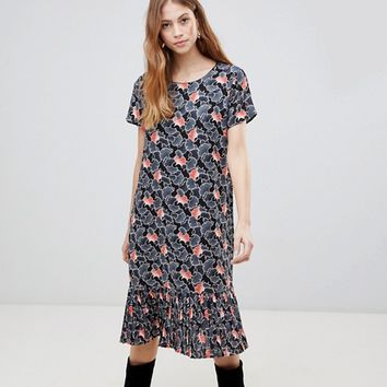Vila Drop Waist Floral Midi Dress at asos.com