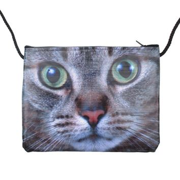 Grey Kitty Cat Close Up Face Print Rectangular Shaped Cross Body Bag | Gifts for Cat Lovers