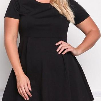 Streetstyle  Casual New Women Black Pleated Plus Size High Waisted Party Little Tutu Mini Dress