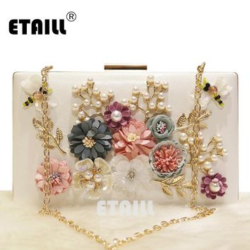 ETAILL Fashion Colorful Floral Cute Bee Party Ladies Evening Clutch Bags Applique Pearl Girls Shoulder Crossbody Bags with Chain