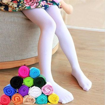 DCCKH6B Kid's girl Summer solid candy color children's Opaque velvet white Pantyhose soft stretch Ballet dance leggings stocking-1