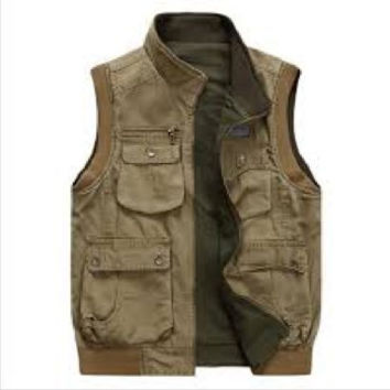 Military Style Men's Fashion Vest Jacket