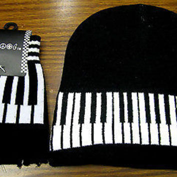 Black and White Musical Keyboard Beanie Ski Cap+Musical Keys Match Gloves -New!