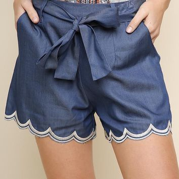 Denim Scallop Embroidered High Waist Shorts