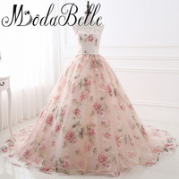 Beautiful Flower Print Floral Wedding Dresses Real Photo Princess Cheap Simple Lace Pink Blush Bridal Ball Gowns Gelinlik 2017
