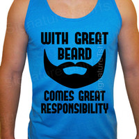 With Great Beard Comes Great Responsibility Tank Top Husband Gift Wedding Gift Fathers Day Neon Blue sale
