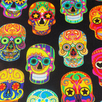 Sugar Skull Fabric BTY BTHY Mexican Fabric Day of the Dead Fabric Quilt Fabric  Cotton Fabric Curtain Fabric Table Runner Pillow Fabric