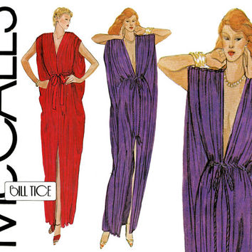 Bill Tice Caftan Pattern Uncut Bust 30 to 42 McCall's 6884 Plunge Neck Evening Greek Toga 1920s Style Dress Womens Vintage Sewing Patterns