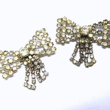 Stunning Shoe Clips Vintage Rhinestone Bows TIPTOE Art Deco Special Occasion Bride Prom Evening