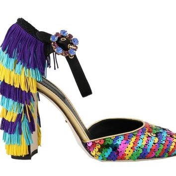 Dolce & Gabbana Multicolor Sequined Crystal Sandals