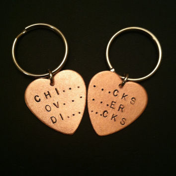 CHICKS OVER DICKS Keychains--Best Bitches Copper Heart Keychain, Best Friends, Handstamped Keychain, Metal Taboo, Partners in Crime, Sisters
