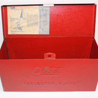 Vintage Red Grote Reflector Flare Lidded Metal Box with Paper Label