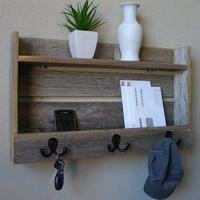 Wood Wall Shelf & Hooks