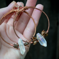 Hand hammered solid copper hoop earrings with stained rat vertebrae and aurora quartz points / rustic witchy taxidermy real bone jewelry